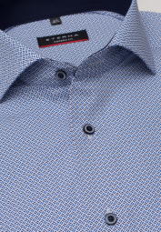 ETERNA LONG SLEEVE SHIRT MODERN FIT POPLIN BLUE PRINTED