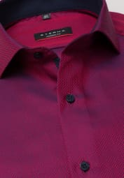 ETERNA LONG SLEEVE SHIRT MODERN FIT FANCY WEAVE RED STRUCTURED