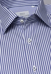 ETERNA LONG SLEEVE SHIRT COMFORT FIT FANCY WEAVE NAVY / WHITE STRIPED