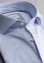 ETERNA LONG SLEEVE SHIRT SLIM FIT SOFT TAILORING TWILL LIGHT BLUE / WHITE STRIPED