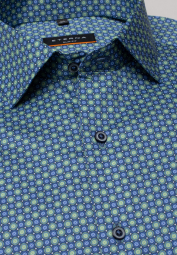 ETERNA LONG SLEEVE SHIRT SLIM FIT TWILL GREEN/BLUE PRINTED