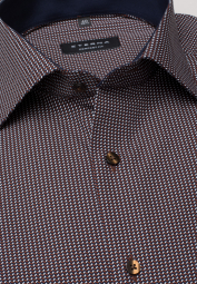 ETERNA LONG SLEEVE SHIRT COMFORT FIT POPLIN BROWN PRINTED