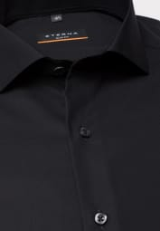 ETERNA LONG SLEEVE SHIRT SLIM FIT POPLIN BLACK UNI