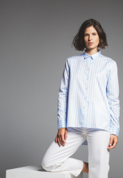 LONG SLEEVE BLOUSE 1863 BY ETERNA - PREMIUM TWILL BLUE/WHITE STRIPED