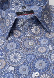 ETERNA LONG SLEEVE SHIRT MODERN FIT POPLIN BLUE/BEIGE PRINTED