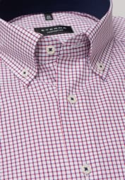 ETERNA LONG SLEEVE SHIRT COMFORT FIT PINPOINT RED CHECKED