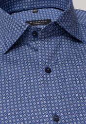 ETERNA LONG SLEEVE SHIRT COMFORT FIT TWILL BLUE PRINTED