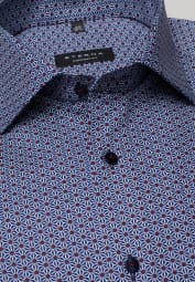 ETERNA LONG SLEEVE SHIRT COMFORT FIT PINPOINT BLUE PRINTED