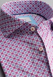 ETERNA LONG SLEEVE SHIRT MODERN FIT SOFT TAILORING TWILL ORCHID / LIGHT BLUE PRINTED