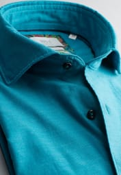 ETERNA LONG SLEEVE SHIRT COMFORT FIT SOFT TAILORING TWILL TURQUOISE UNI
