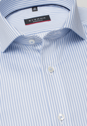 ETERNA LONG SLEEVE SHIRT MODERN FIT FANCY WEAVE LIGHT BLUE STRIPED