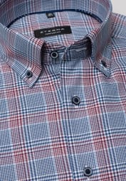 ETERNA LONG SLEEVE SHIRT COMFORT FIT TWILL BORDEAUX CHECKED