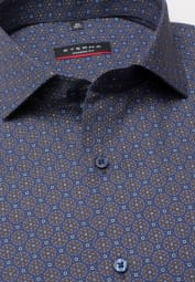 ETERNA LONG SLEEVE SHIRT MODERN FIT POPLIN BROWN / BLUE PRINTED