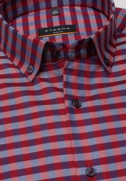 ETERNA LONG SLEEVE SHIRT SLIM FIT OXFORD BLUE/RED CHECKED