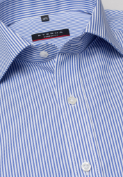ETERNA LONG SLEEVE SHIRT MODERN FIT HERRINGBONE LIGHT BLUE / WHITE STRIPED