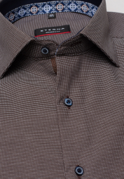 ETERNA LONG SLEEVE SHIRT MODERN FIT NATTÉ BROWN STRUCTURED