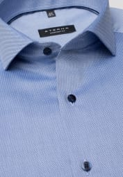 ETERNA LONG SLEEVE SHIRT COMFORT FIT BLUE STRUCTURED