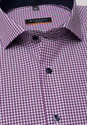 ETERNA LONG SLEEVE SHIRT SLIM FIT POPLIN PURPLE / WHITE CHECKED