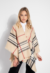 ETERNA KNIT PONCHO BEIGE CHECKED