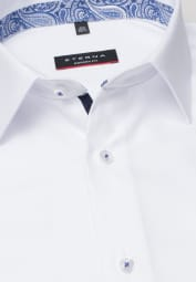 ETERNA LONG SLEEVE SHIRT MODERN FIT NATTÉ WHITE STRUCTURED