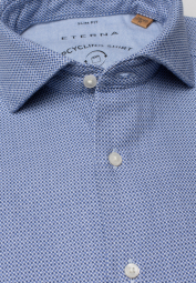 ETERNA LONG SLEEVE SHIRT SLIM FIT UPCYCLING SHIRT BLUE/WHITE STRUCTURED