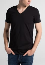 ETERNA BODYSHIRT WITH EXTENDEND V-NECK BLACK UNI