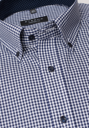 ETERNA LONG SLEEVE SHIRT COMFORT FIT POPLIN NAVY / WHITE CHECKED