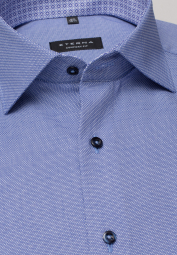 ETERNA LONG SLEEVE SHIRT COMFORT FIT STRUCTURE BLUE STRUCTURED