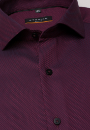 ETERNA LONG SLEEVE SHIRT SLIM FIT BORDEAUX STRUCTURED