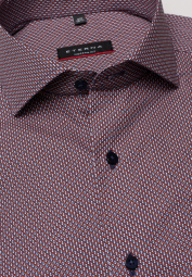 ETERNA LONG SLEEVE SHIRT MODERN FIT POPLIN RED PRINTED