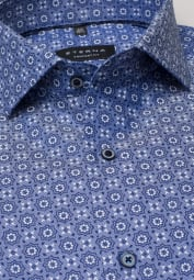 ETERNA LONG SLEEVE SHIRT COMFORT FIT HERRINGBONE NAVY PRINTED