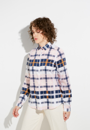 ETERNA LONG SLEEVE BLOUSE MODERN CLASSIC PINK / NAVY CHECKED