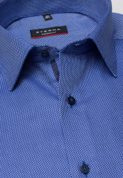 ETERNA LONG SLEEVE SHIRT MODERN FIT TWILL BLUE STRUCTURED