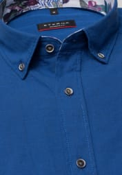 ETERNA HALF SLEEVE SHIRT MODERN FIT LINEN BLUE UNI