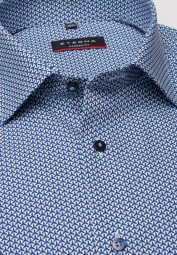 ETERNA LONG SLEEVE SHIRT MODERN FIT POPLIN TURQUOISE / NAVY BLUE PRINTED