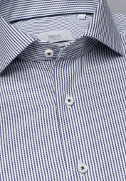 ETERNA LONG SLEEVE SHIRT MODERN FIT FANCY WEAVE NAVY / WHITE STRIPED