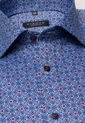 ETERNA LONG SLEEVE SHIRT COMFORT FIT OXFORD BLUE/RED PRINTED