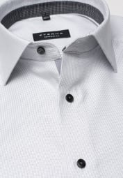 ETERNA LONG SLEEVE SHIRT COMFORT FIT TWILL GREY STRUCTURED