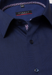 ETERNA HALF SLEEVE SHIRT MODERN FIT FIL À FIL NAVY BLUE UNI