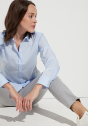 ETERNA LONG SLEEVE BLOUSE MODERN CLASSIC STRETCH LIGHT BLUE UNI