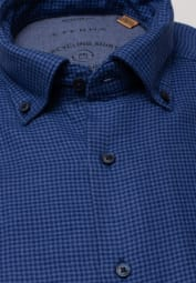 ETERNA LONG SLEEVE SHIRT MODERN FIT UPCYCLING SHIRT DOUBLE FABRIC BLUE CHECKED