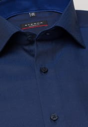 ETERNA LONG SLEEVE SHIRT MODERN FIT BLACK/BLUE STRUCTURED