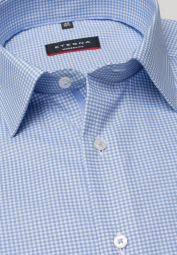 ETERNA LONG SLEEVE SHIRT MODERN FIT TWILL LIGHT BLUE / WHITE CHECKED