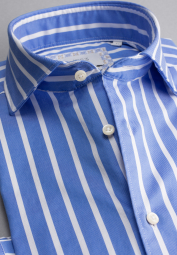 ETERNA LONG SLEEVE SHIRT COMFORT FIT SOFT TAILORING TWILL LIGHT BLUE / WHITE STRIPED