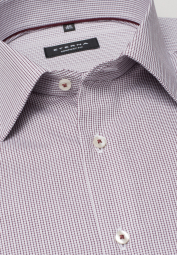 ETERNA LONG SLEEVE SHIRT COMFORT FIT TEXTURED WEAVE WINE RED / WHITE CHECKED