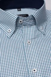 ETERNA HALF SLEEVE SHIRT COMFORT FIT PINPOINT GREEN CHECKED
