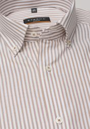 ETERNA LONG SLEEVE SHIRT SLIM FIT OXFORD BEIGE / WHITE STRIPED