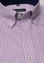 ETERNA HALF SLEEVE SHIRT COMFORT FIT PINPOINT RED CHECKED
