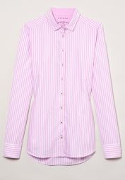 ETERNA LONG SLEEVE BLOUSE MODERN CLASSIC UPCYCLING SHIRT OXFORD PINK / WHITE STRIPED