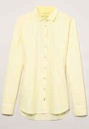 ETERNA LONG SLEEVE BLOUSE MODERN CLASSIC UPCYCLING SHIRT OXFORD YELLOW/WHITE STRIPED